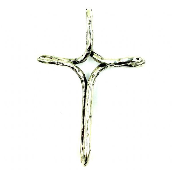 BIG Silver plated pendant -large cross 11.5cm x 8cm